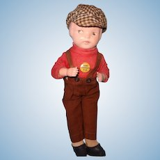 Factory Original Jackie Coogan The Kid Composition Doll ~ Tagged and w/ Pin ~ Child Movie Star