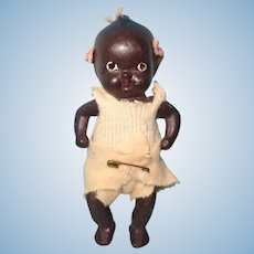 """Adorable 4"""" Black Bisque Baby Doll w/ Cute Little Pink Bows"""