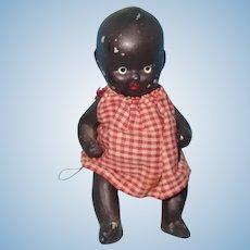 """4"""" Black Bisque Baby Doll ~ Kewpie Like Face ~ Japan"""
