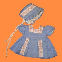 1940s Blue Twill Dress and Bonnet for Composition Doll