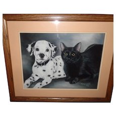 Original Black and White Charcoal Painting Drawing Dalmation Dog and Black Cat Portrait ~ Best Friends