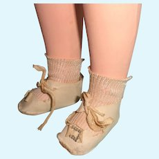 Buckle Design Oil Cloth Shoes for Larger Size Composition or Bisque Doll