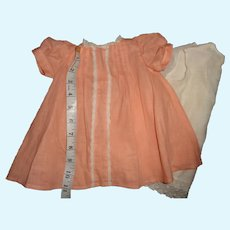 Beautiful Peach Dress w/ Slip for Larger Composition or Bisque Baby Doll