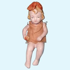"""Adorable 3.5"""" German Sitting Bisque Miniature Doll"""