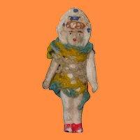 """Itty Bitty Bisque Bonnet Head Miniature Doll 2"""" Tall"""