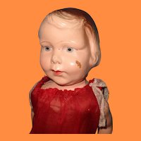 Nice Early Molded Hair Composition Doll  ~ side part bob