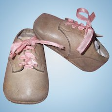 Soft Vintage Leather Baby Shoes for Large Bisque or Composition Baby