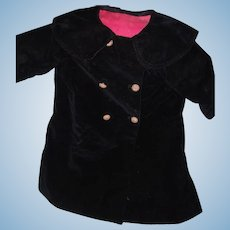 Large Velvet Doll Coat for Bisque or Composition Mama Doll