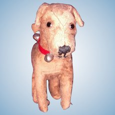 Early Straw Stuffed Mohair Dog for Larger Doll