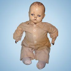 """Early 17"""" Composition Baby Boy Doll"""