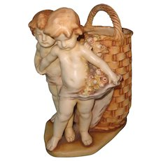 Beautiful 19th Century Amphora Hand Painted Cherub w/ Basket ~ stunning