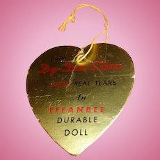 Authentic Dy-Dee Ellen Doll Gold Heart Paper Tag ~ Effanbee