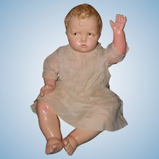 """Largest Effanbee 20"""" Baby Grumpy Composition Doll ~ He's so mad!"""