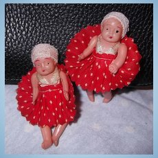 Teenie Tiny adorable A/O Celluloid Twin dolls Polka Dot
