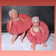 Teenie Tiny Adorable A/O Celluloid Twin Dolls  Gingham