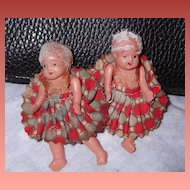 Teenie Tiny Adorable A/O Celluloid Twin Dolls  HoneyComb