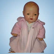 """Authentic Effanbee Dy-Dee Pink Plush Eiderdown Coat for 15"""" Baby Doll"""