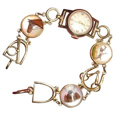 Essex Crystal and 14K Bracelet Watch Horse & Dog