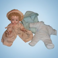 Precious Effanbee Patsy Babyette Composition Doll w/ 2 Original Outfits & Bunting ~Think Xmas