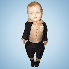 Early Boy Composition Straw Stuffed Doll ~ Very Handsome
