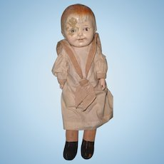 Early Boy Straw Stuffed Composition Doll