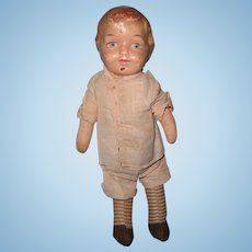 Early Straw Stuffed Composition Boy Doll