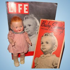 Baby Sandy Composition Doll w/ Box and Life Magazine 1939 ~ Factory Original