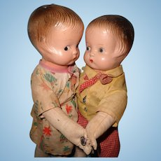 Straw Stuffed Dancing Couple Composition Dolls ~ Patsy LOL