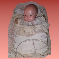 Darling 1930s Celluloid Doll Hand Puppet on Presentation Pillow Bed ~ Turtle Marked ~ Too Sweet