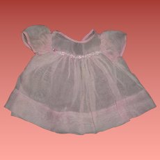"""Sweet Pink Embroidered Organza Dress for 15"""" Dy-Dee Baby or Composition Baby or Bisque Doll"""