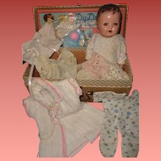 """RARE Effanbee  9"""" Dy-Dee Wee  Baby with Box and Accessories"""