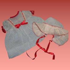 "Rare Effanbee Dy-Dee Blue Swiss Dot Dress Set for 15"" Baby Doll ~ Mint"