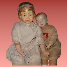"""Huge 33""""  Early Composition Molded Bow Girl Doll ~ Straw Stuffed"""