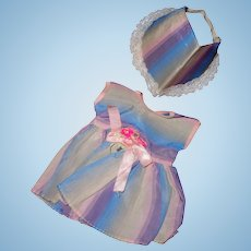 """Authentic Tiny Tears Dress and Bonnet Set for 11"""" baby"""