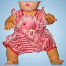 "Authentic Effanbee Dy-Dee Red/White Pin Stripe Romper for 15"" Baby Doll"