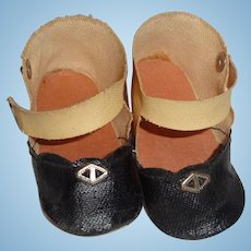 2 Tone Oil Cloth Shoes for Composition or Bisque Doll