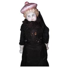 Parisian Type Bisque Doll Dressed in French Fashion Style Outfit.