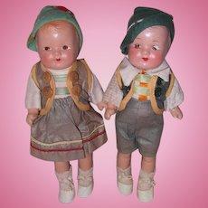 Adorable Factory Original German Pair (Girl & Boy) Composition Dolls
