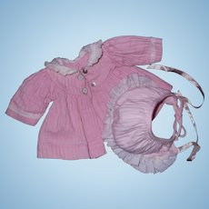 Authentic Tiny Tears Pretty in Pink Coat w/ Matching Bonnet ~ nice for Dy Dee too