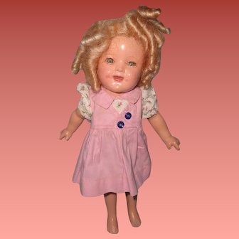 """TLC 11"""" Ideal Shirley Temple Composition Doll for Parts or Repair"""