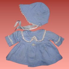 """Authentic Effanbee Dy-Dee Blue Twill Coat & Bonnet Set for 11"""" Baby Doll"""