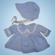"Authentic Effanbee Dy-Dee Blue Twill Coat & Bonnet Set for 11"" Baby Doll"