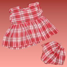 """Tiny Tears Red 2pc School Plaid Dress for 11"""" Baby Doll"""