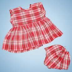 "Tiny Tears Red 2pc School Plaid Dress for 11"" Baby Doll"