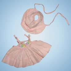 "Authentic Effanbee Dy-Dee Embroidered Yoke Sundress w/ Bonnet for 11"" Baby Doll"