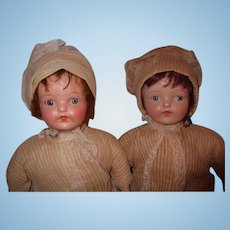 Ideal Composition Twin Sisters ~ Factory Original Mama Dolls
