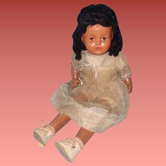 "Factory Original Large 25"" Black Composition Doll"