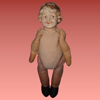 Early Coquette Face Composition Doll ~ Sawdust Filled