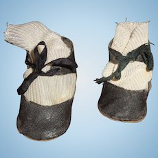Nice Black Oil Cloth Shoes for Larger Composition or Bisque Doll