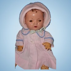 """Authentic Effanbee Dy-Dee Baby Pink Twill Coat Set for 15"""" Doll"""
